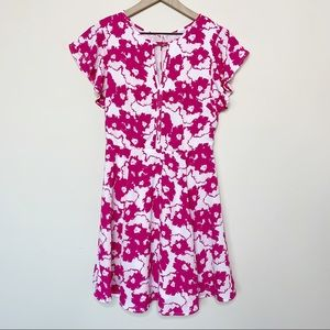 NWT Banana Republic Pink Floral Fit & Flare Dress